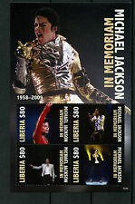 Liberia 2010 MNH Michael Jackson in Memoriam 1958-2009 4v MS II Pop Music Stamps