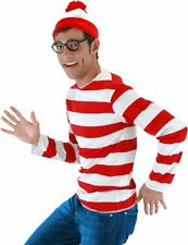 WHERE'S WALDO COSTUME Adult S M Small Medium Hat Striped Shirt Glasses Red NEW