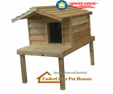 HEATED LARGE INSULATED CEDAR OUTDOOR CAT HOUSE, FERAL SHELTER WITH PLATFORM