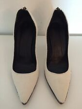 Helmut Lang Size 37.5 Or 7 White Calf Hair Stiletto Pumps Authentic Heels