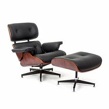 eBB Eames Style Lounge Chair and Ottoman BLACK Leather Rose Wood
