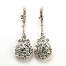 RUSSIAN JEWELRY ROSE & WHITE GOLD G-SI1 DIAMOND EMERALD EARRING