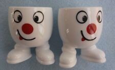 VTG ARCOPAL ARC FRANCE SILLY SMILEY FACE WHITE EGG CUPS WITH FEET Set of 2