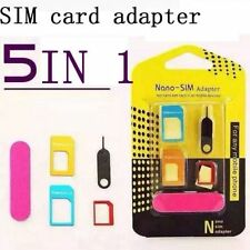 5 in1 Nano SIM Card to Micro Standard Adapter Adaptor Converters For iPhone iPad