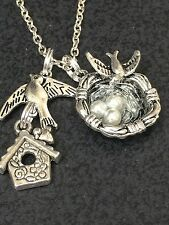 "Bird Sparrow Birdhouse & Nest Bird Eggs Pearl Charm Tibetan Silver 18"" Necklace"