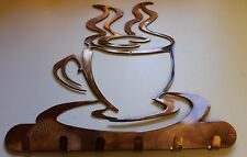 Coffee Cup Key Rack Holder Metal Wall Art