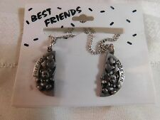Necklace Best Friends Pewter 2 Heart Pendants with Teddy Bears & Silver Chains