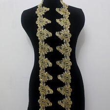 1yard Embroidery Corded Gold Metallic Beaded Sequins Lace Trim Applique Wide 8cm