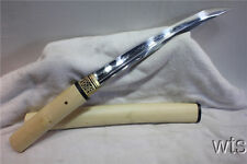 Japanese T10 Clay Tempered Shiro-Take Tanto Japanese Sword Shirasaya Sharp