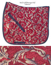 "HEAVY ""VALENCIA"" ELEGANT RED GOLD  SWIRL BAROQUE DRESSAGE SADDLE PAD- TAPESTRY"