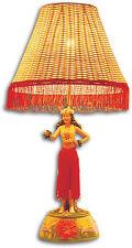"""Hawaiian Hand Painted Hula Lamp Motion Dancing Poly Resin Base Rattan Shade 26"""""""