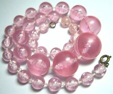1950s PRETTY VINTAGE PINK Crackle Plastic Graduated Bead Jewellery Necklace