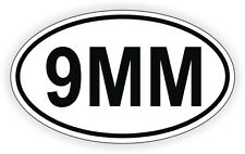 9MM Oval Vinyl Decal / Sticker Gun Rights Laws Euro Bumper Label 9 mm Pistol