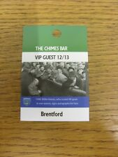 06/11/2012 Ticket: Portsmouth v Brentford [The Chimes Bar VIP Guest Pass] . Than
