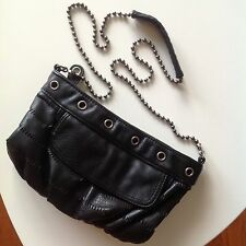 Black Faux Leather Cross Body Purse Chain Converse