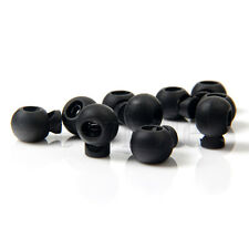 10pcs Mini Round Ball Cord lock Toggles Stops Black Drawstring Rope Cord Locks