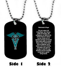 DOG TAG NECKLACE - Veterinarian's Prayer Medical Animals Cat Dog Jesus God Heal