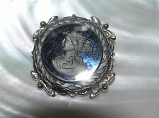 Vintage Round Reverse Carved Black Glass Cameo in Silvertone Pronged Frame Pin