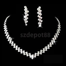 Bridal Wedding Pageant Prom Jewelry Crystal Rhinestone Necklace Earring Set