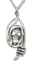 Grim Reaper with Sickle Silver Pewter Gothic Pendant Necklace NK-38