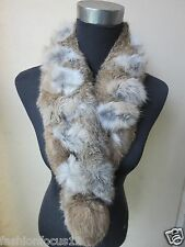free shipping /real Whole rabbit fur handmade  scarf natural brown