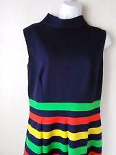 Mod Go-Go Knit Twiggy Dress SZ 6 Sleeveless Navy Bright Stripe Vintage 60's