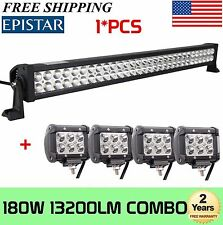 "32inch 180w Led Light Bar Flood Spot + 4X 4"" CREE Pods Offroad Truck SUV Bumper"