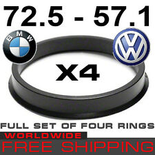 HUB CENTRIC RINGS 72.5 - 57.1mm BMW to VW, AUDI(SET OF 4 RINGS) free WORLD shipp