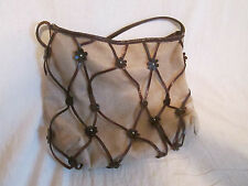 Capaccioli Italy Boho Natural Jute Burlap Brown Leather Flower Bag Purse