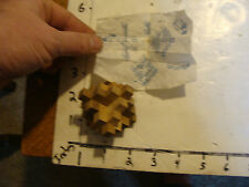 Vintage Puzzle: tiny wood BURR puzzle w/ instruction sheet