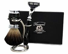Pure Black Badger Hair Shaving Brush in Black With Gillette Mach 3 Razor & Stand