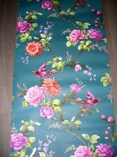 Vintage retro style shabby chic teal blue  floral roses bird wallpaper roll