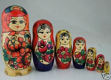 VINTAGE AUTHENTIC RUSSIAN MATRYOSHKA BABUSHKA NESTING DOLL 7 PC HAND PAINTED