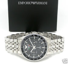 EMPORIO ARMANI AR5983 TEAM ITALIA Black Sportivo Chrono SS Bracelet Men's Watch