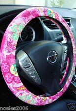 Hand Made Steering Wheel Covers Retro Style Pink and Yellow Flowers