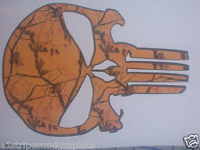 Real Tree ORANGE Camo SKULL trailer Window Decal Decals Sticker Truck Mossy Oak
