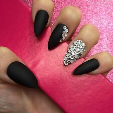 Hand Painted Full Cover False Nails. Stiletto Matte Black Swarovski Opal Nails