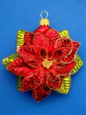 POINSETTIA EUROPEAN BLOWN GLASS FLOWER CHRISTMAS TREE ORNAMENT WEIHNACHTSSTERN
