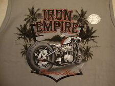 """Newport Blue """"iron Empire"""" American Made Motorcycle Name Brand Gray T Shirt XL"""