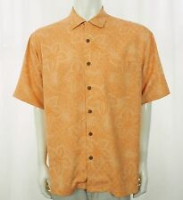 Tommy Bahama 100% Silk Orange Hawaiian Shirt Mens Medium