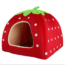 Pet Dog Cat Bed House Strawberry Kennel Doggy Warm Cushion Basket Bed Style FG