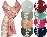 Ladies Floral Embroidery Scarf Big Large Maxi Plain Shawl Hijab Sarong Wrap Cape