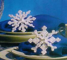 BEADED SNOWFLAKES CHRISTMAS ORNAMENTS PLASTIC CANVAS PATTERN INSTRUCTIONS