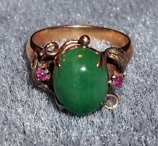 VINTAGE 18K GOLD GREEN JADEITE & RED RUBY ALL NATURAL RING