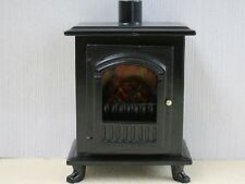 Black Wood Burner Stove With Opening Door, Dolls House Miniatures. Kitchen
