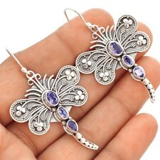 Dragonfly Iolite 925 Sterling Silver Earrings Jewelry SE91770