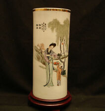 "11 1/4"" H VINTAGE CHINESE REPUBLIC YEAR 1928 FAMILLE ROSE CYLINDER VASE"