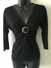 Stretchy Jersey Black Wallis Top with Wood Effect Decorative Disc Size 12