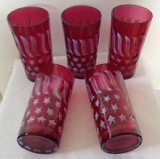 """LOT OF 5 FENTON ART GLASS CRANBERRY OPALESCENT STARS & STRIPS TUMBLERS 5 3/4"""""""