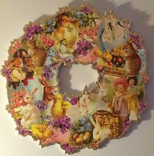 Easter Spring Decor Vintage Style Wood Die Cut Wreath With Glittered Edges